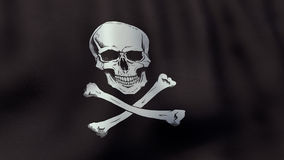 drapeau de pirate de ondulation rendu par 3D de Jolly Roger Image stock
