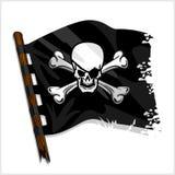 Drapeau de pirate noir avec le crâne et les os illustration de vecteur