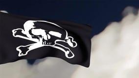 Drapeau de pirate sur le fond de ciel bleu banque de vidéos