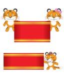 Drapeau de prise de famille de tigre Image libre de droits