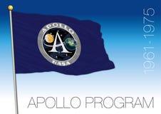 Drapeau de programme d'exploration de l'espace d'Apollo, illustration de vecteur, Etats-Unis illustration stock