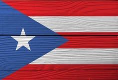 Drapeau de Puerto Rico sur le fond en bois de mur Texture grunge de drapeau de Puerto Rico photographie stock