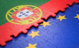 Drapeau de puzzle d'Union européenne du Portugal photographie stock