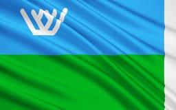 Drapeau de région autonome de Khanty-Mansi - Yugra, Fédération de Russie illustration stock