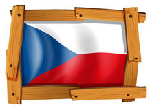 Drapeau de République Tchèque dans le cadre en bois Images stock