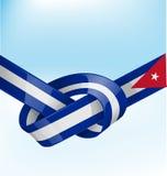 Drapeau de ruban du Cuba sur le ciel de bue illustration de vecteur