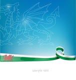 Drapeau de ruban du Pays de Galles Photos stock