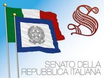 Drapeau de sénat et logo, Italie Photo stock