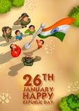 Drapeau de salutation de personnes indiennes d'Inde avec fierté le jour heureux de République illustration libre de droits