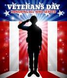 Drapeau de salutation de Veterans Day American de soldat illustration de vecteur
