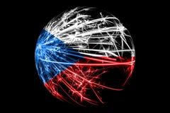 Drapeau de scintillement abstrait de République Tchèque, concept de boule de Noël d'isolement sur le fond noir illustration libre de droits