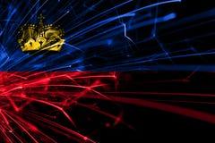 Drapeau de scintillement de feux d'artifice abstraits de la Liechtenstein Concept de nouvelle année, de Noël et de jour national illustration libre de droits
