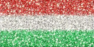 Drapeau de scintillement de la Hongrie Images libres de droits