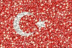 Drapeau de scintillement de la Turquie Photographie stock libre de droits