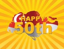Drapeau de Singapour cinquantième dans l'illustration de silhouette de carte Image libre de droits