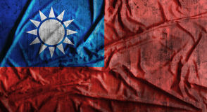 Drapeau de Taïwan chiffonné par grunge rendu 3d Photos libres de droits