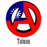 Drapeau de Taïwan du monde sous forme de signe d'anarchie illustration stock
