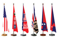 Drapeau de table de bureau de symboles nationaux des USA Photo stock