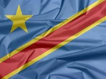Drapeau de tissu de Dr. Congo Pli de fond de drapeau de Dr. Congo photographie stock libre de droits