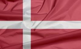 Drapeau de tissu du Danemark Pli de fond danois de drapeau images libres de droits