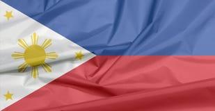 Drapeau de tissu de Philippines Pli de fond philippin de drapeau image stock