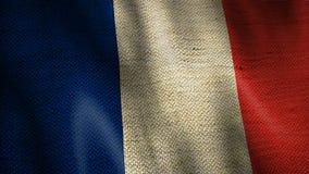 Drapeau de toile de jute d'animation de ondulation de Frances banque de vidéos
