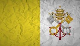 Drapeau de Vatican avec l'effet du papier chiffonné Image libre de droits