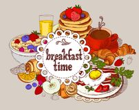 Drapeau de vecteur Temps de petit déjeuner illustration stock