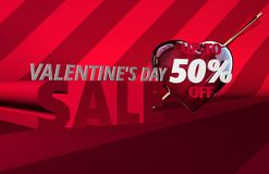 Drapeau de vente de jour du ` s de Valentine illustration stock