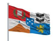 Drapeau de ville de Casablanca sur le mât de drapeau, Chili, d'isolement sur le fond blanc illustration libre de droits