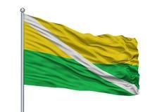 Drapeau de ville de Chiriguana sur le mât de drapeau, Colombie, Cesar Department, d'isolement sur le fond blanc illustration libre de droits
