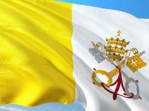 Drapeau de Ville du Vatican - Saint-si?ge ondulant dans le vent contre le ciel bleu profond Tissu de haute qualit? images libres de droits