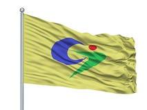 Drapeau de ville de Goshogawara sur le mât de drapeau, Japon, préfecture d'Aomori, d'isolement sur le fond blanc illustration libre de droits