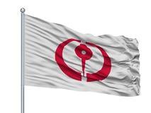 Drapeau de ville de Hachinohe sur le mât de drapeau, Japon, préfecture d'Aomori, d'isolement sur le fond blanc illustration de vecteur