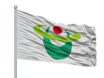 Drapeau de ville de Hirakawa sur le mât de drapeau, Japon, préfecture d'Aomori, d'isolement sur le fond blanc illustration stock