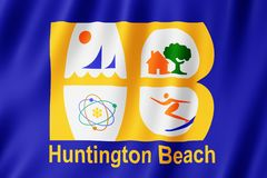 Drapeau de ville de Huntington Beach, la Californie USA illustration libre de droits