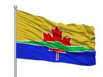 Drapeau de ville de Thunder Bay sur le mât de drapeau, Canada, d'isolement sur le fond blanc illustration libre de droits
