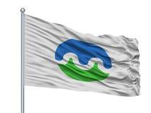 Drapeau de ville de Towada sur le mât de drapeau, Japon, préfecture d'Aomori, d'isolement sur le fond blanc illustration de vecteur