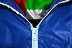 Drapeau des Emirats Arabes Unis sous la tirette déballée photos stock