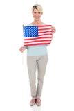 Drapeau des Etats-Unis de femme Image stock