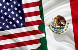 Drapeau des Etats-Unis et drapeau du Mexique Images libres de droits