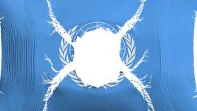 Drapeau des Nations Unies avec un trou illustration libre de droits
