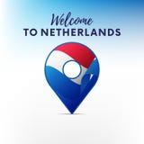 Drapeau des Pays-Bas dans la forme de l'indicateur de carte Accueil vers les Pays-Bas Illustration de vecteur illustration de vecteur
