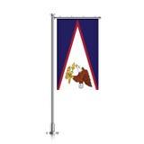Drapeau des Samoa américaines accrochant sur un poteau illustration stock