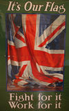 Drapeau des syndicats sur la première affiche de guerre mondiale Image libre de droits