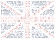 Drapeau des textes du Royaume-Uni Images stock