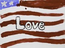 Drapeau des USA avec amour Photos stock
