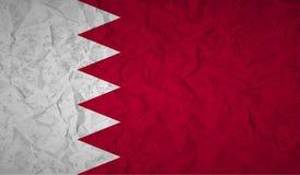 Drapeau du Bahrain avec l'effet du papier et du grunge chiffonnés Image libre de droits