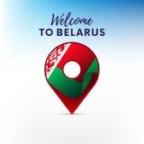Drapeau du Belarus dans la forme de l'indicateur de carte Accueil vers le Belarus Illustration de vecteur illustration libre de droits