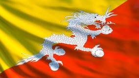 Drapeau du Bhutan Drapeau de ondulation d'illustration du Bhutan 3d illustration libre de droits